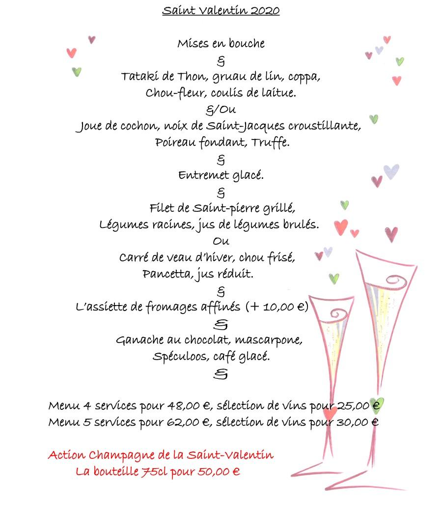 Menu de Saint-Valentin pour La Fermette des Pins