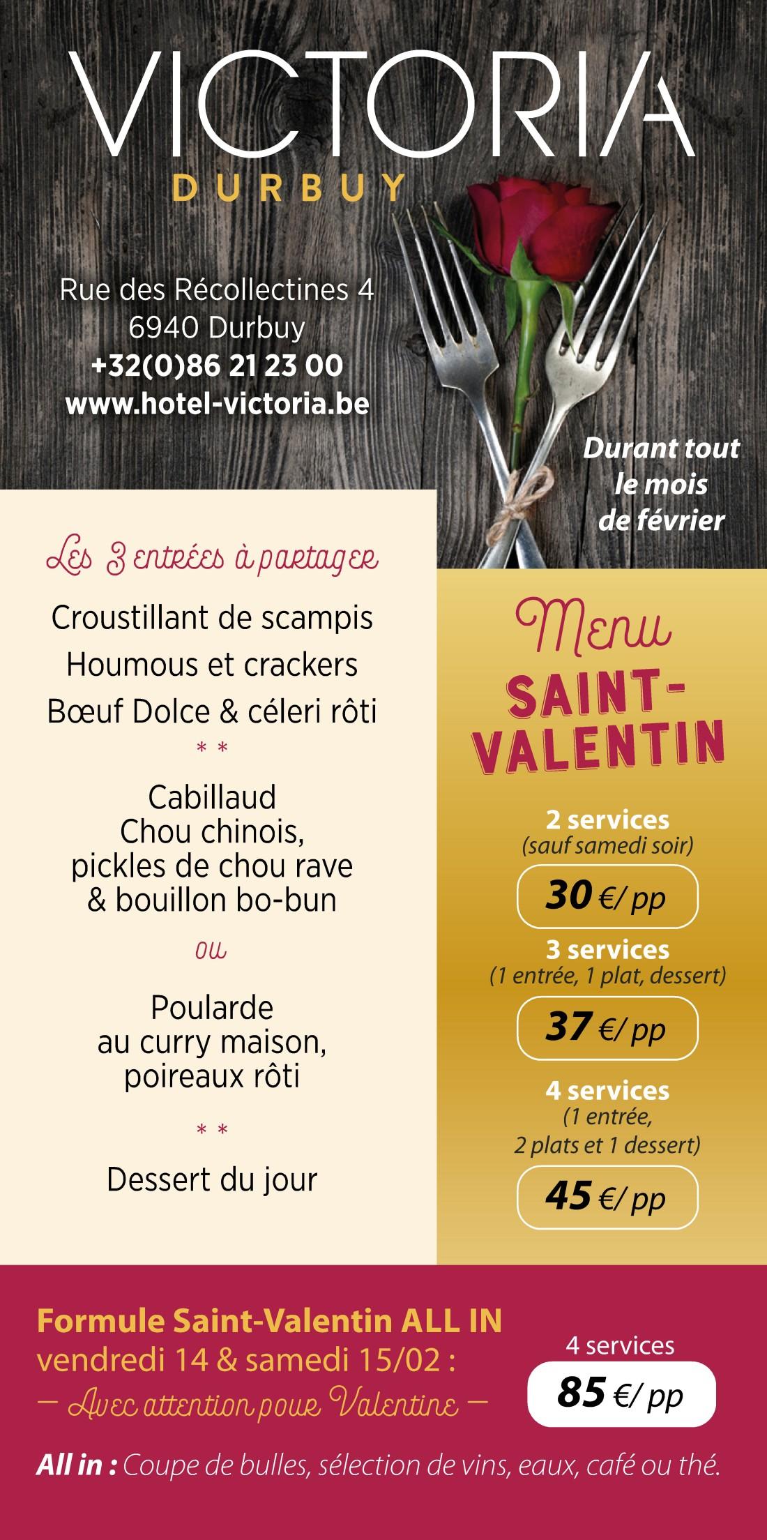 Menu de Saint-Valentin pour Victoria