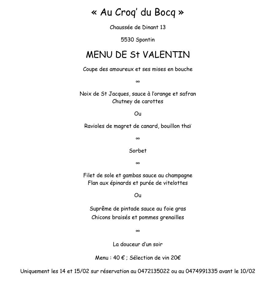 Menu de Saint-Valentin pour Au Croq' du Bocq