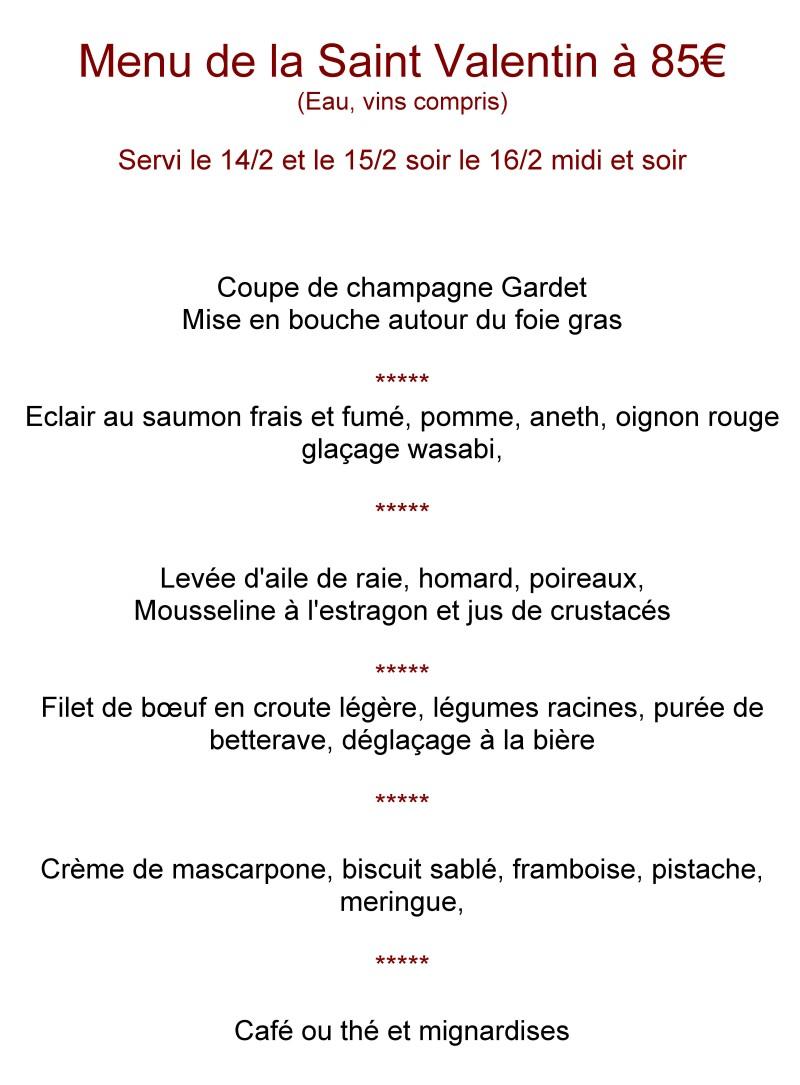 Menu de Saint-Valentin pour Restaurant Frédéric Maquin